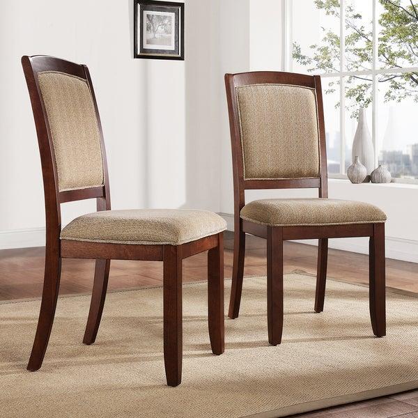 Eadestown Rich Walnut Chenille Cushioned Dining Chair (Set of 2)