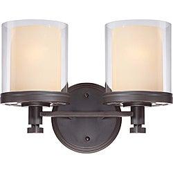 Decker Bronze with Clear/ Cream 2-light Vanity Fixture