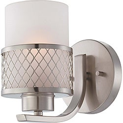 Fusion Nickel and Frosted 1-Light Vanity Fixture