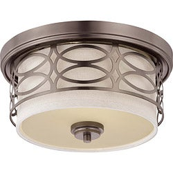 Harlow Bronze w/ Khaki Fabric Shade 2-Light Flush Dome Fixture