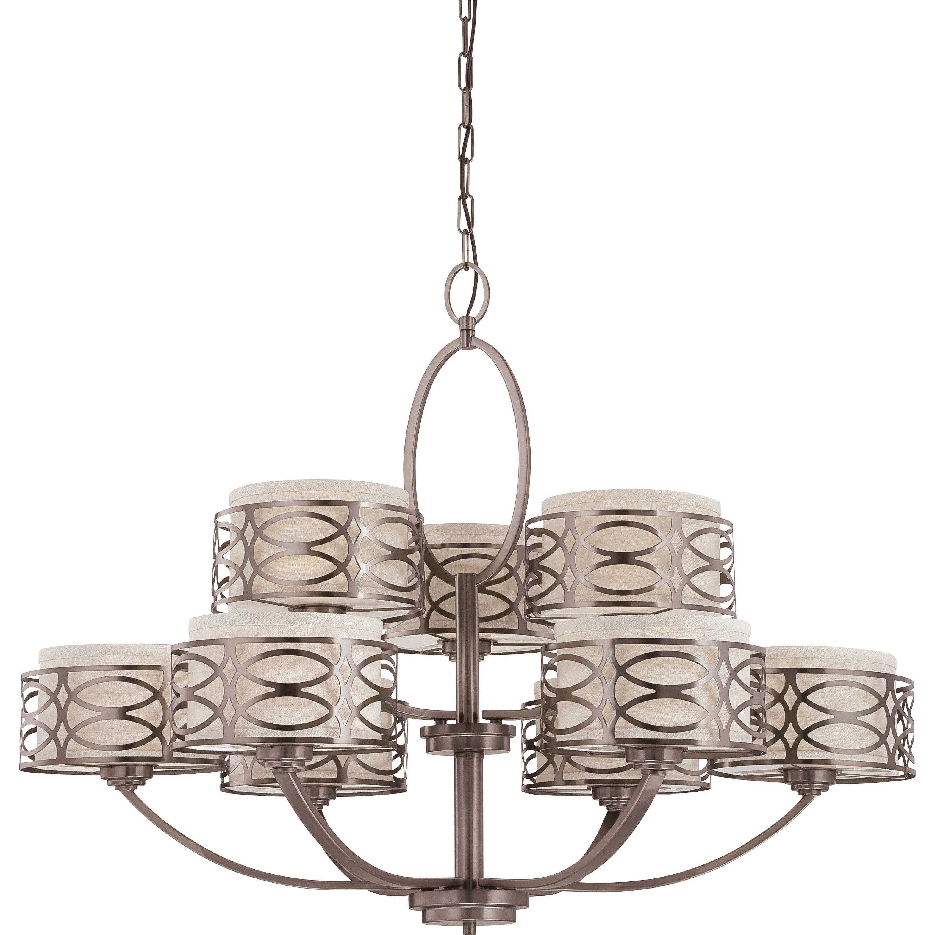 Harlow Bronze all Khaki Fabric Shades 9-Light Chandelier