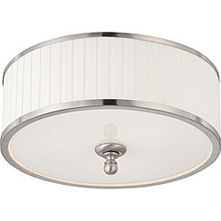 Candice Nickel and Flat Pleated White Shade 3-Light Flush Dome Fixture