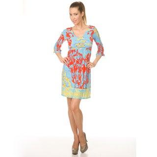 White Mark 'Venezia' Women's Turquoise/Orange Day Dress
