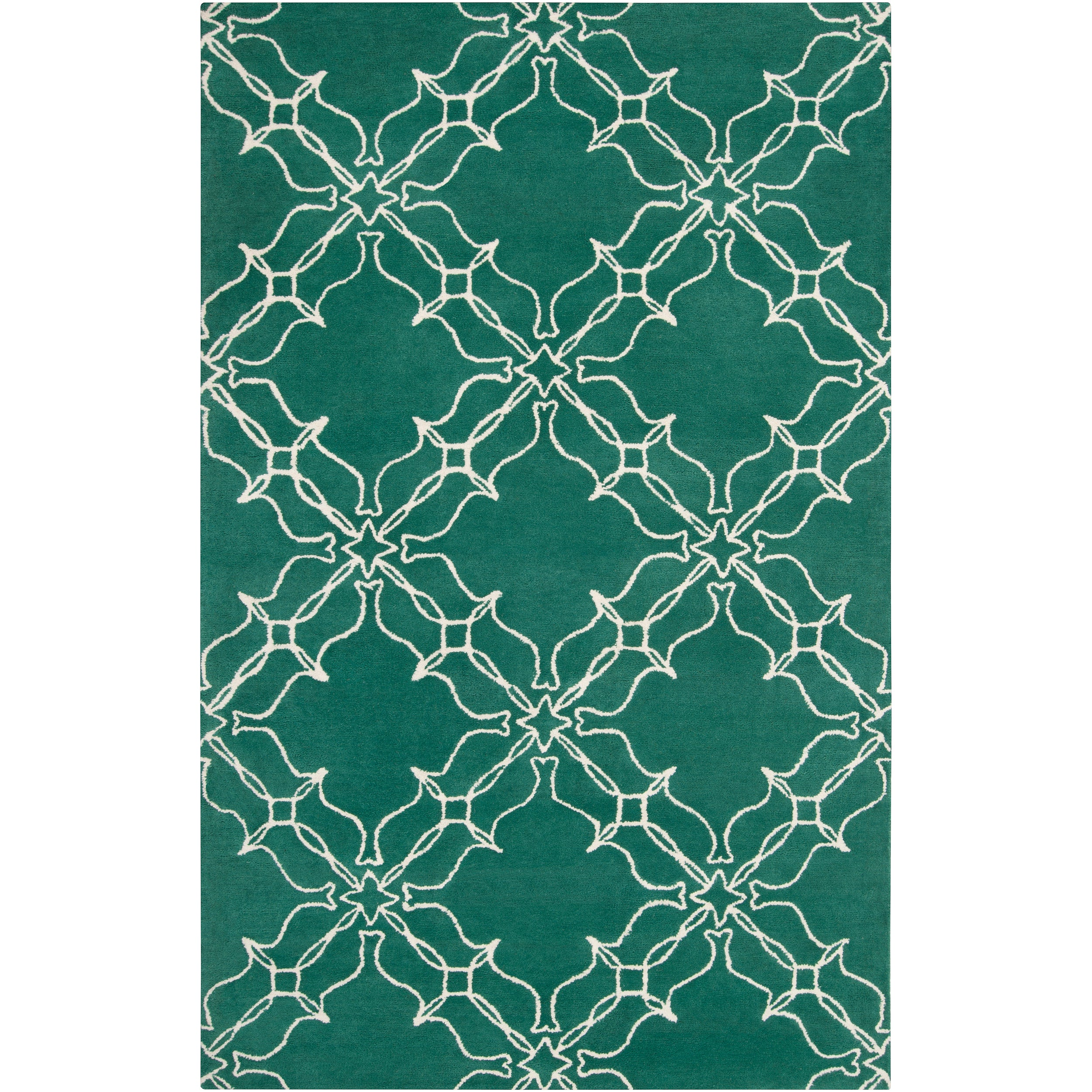 Aimee Wilder Hand-tufted Granada Emerald Green Geometric Trellis Wool Rug (2' x 3')