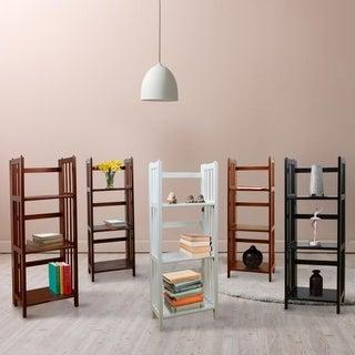 Folding Stackable 3-shelf Wood Bookcase