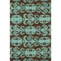 Hand-tufted Montague Chocolate/ Teal Wool Rug (5' x 7'6)