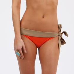Amorroma Women's Tangerine/ Nude Side Tie Bikini Bottom