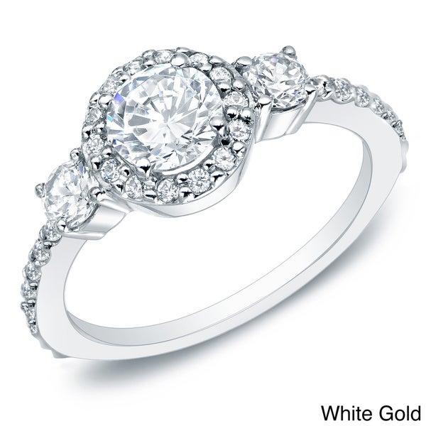 Auriya 14k Gold 1 1/4ct TDW Round Diamond Halo Engagement Ring (G-H, I1-I2)