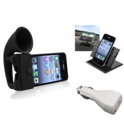 Black Horn Stand Speaker/ Holder/ Charger for Apple® iPhone 4/ 4S