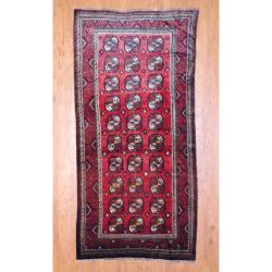 1950s Antique Persian Hand-knotted Tribal Balouchi Burgundy/ Ivory Wool Runner (4'10 x 10')