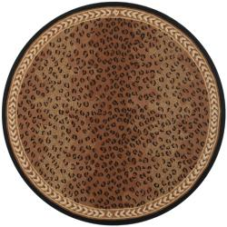 Safavieh Hand-hooked Chelsea Leopard Brown Wool Rug (4' Round)