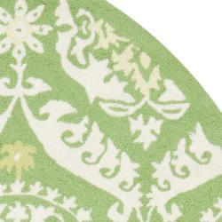 Safavieh Hand-hooked Chelsea Heritage Green Wool Rug (7'6 x 9'6 Oval)