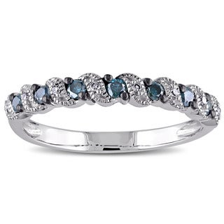 Miadora 10k White Gold 1/4ct TDW Blue and White Diamond Ring