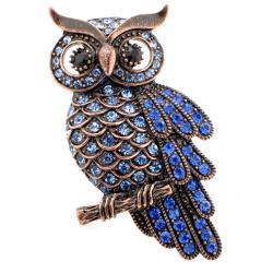 Bronzetone Blue Austrian Crystal Vintage-style Owl Pin