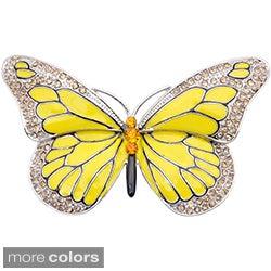 Silvertone Austrian Crystal and Yellow Enamel Butterfly Flower Pin