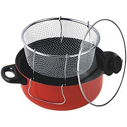 Gourmet Chef 4.5 Quart Non Stick Deep Fryer with Frying Basket and Glass Cover