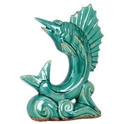 Blue Ceramic Sail Fish Standing