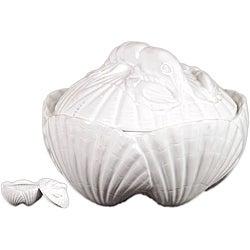 Ceramic Seashell Container White