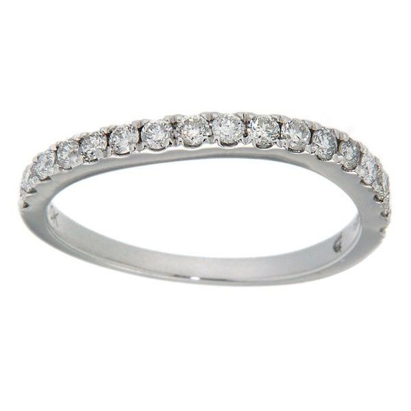 D'sire 10k White Gold 4/9ct TDW Diamond Curved Wedding Ring (H-I, I2-I3)