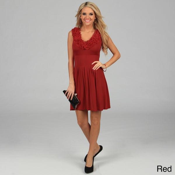 Stanzino Women's Ruffled Neckline Sleeveless Dress