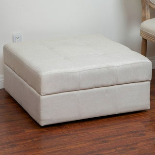 Christopher Knight Home Chatsworth Light Cream Fabric Storage Ottoman