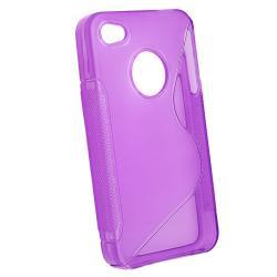 Hot Pink/ Smoke/ Dark Purple TPU Rubber Case for Apple iPhone 4/ 4S