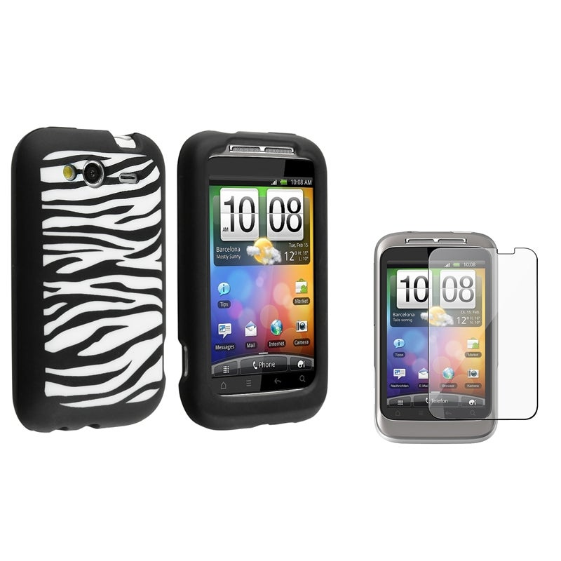Black/ White Zebra Silicone Case/ Screen Protector for HTC Wildfire S