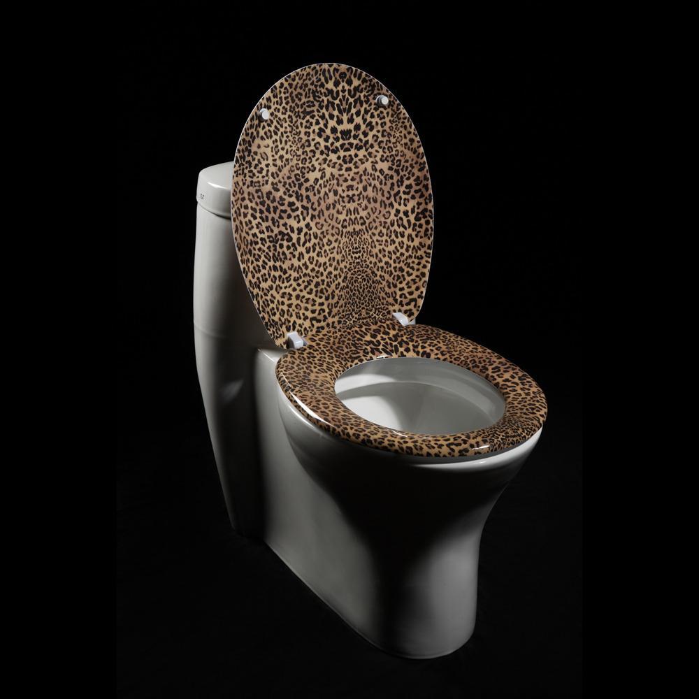 Leopard-print Designer Melamine Toilet Seat Cover
