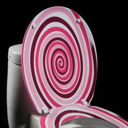 Pink Spiral Designer Melamine Toilet Seat Cover