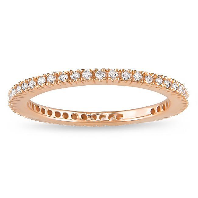 Miadora 18k Pink Gold 1/3ct TDW Diamond Eternity Ring (G-H, SI1-SI2)
