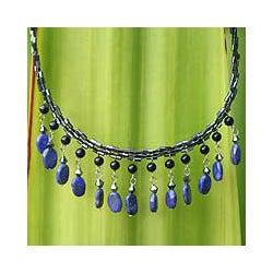 Lapis Lazuli Handcrafted 'Raindrops' Necklace (Thailand)