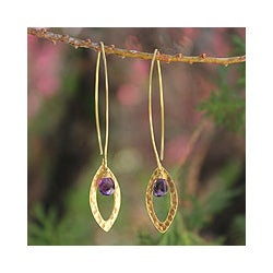 Gold Overlay 'Petal' Amethyst Dangle Earrings (Thailand)