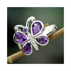 Sterling Silver 'Lilac Butterfly' Amethyst Cocktail Ring (India)