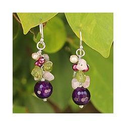 Sterling Silver 'Sing' Multi-gemstone Pearl Earrings (4 mm) (Thailand)