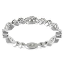 Journee Collection  Sterling Silver CZ Stipple-finish Eternity Bridal & Engagement Ring
