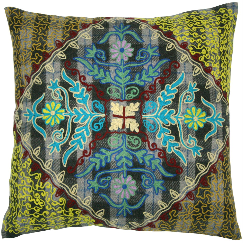 Handmade Ethnic Chic Embroidered Multicolor Single Floral Design Square Decorative Pillow