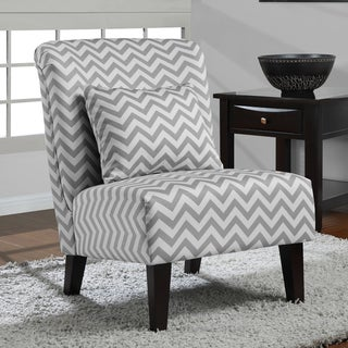 Anna Grey White Chevron Accent Chair