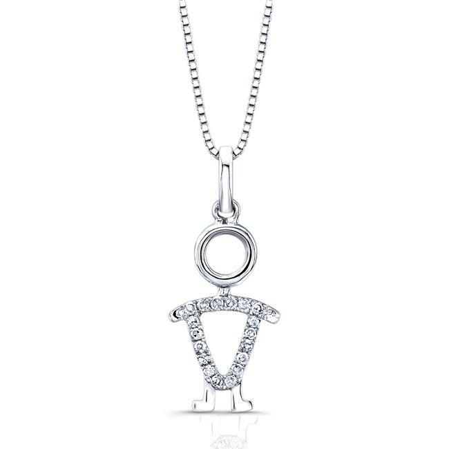 Auriya 14k White Gold Diamond Accent Boy Necklace (H-I, I1-I2)