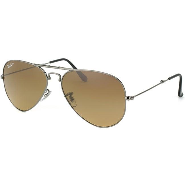 Ray-Ban Unisex 'RB3479 Foldable Aviator 004/M2' Gunmetal Metal Polarized Sunglasses