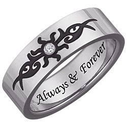 Men's Titanium Engraved 'Always & Forever' Diamond Tribal Design Ring