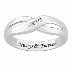 Sterling Silver Engraved 'Always & Forever' Diamond Ring