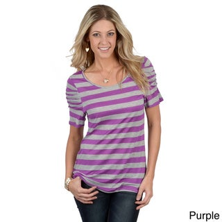 Tressa Designs Women's Contemporary Striped Ruched Sleeve Tee