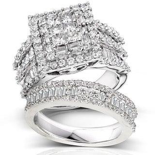 Annello 14k Gold 2 4/5ct TDW Diamond Halo Bridal Ring Set (H-I, I2-I3)