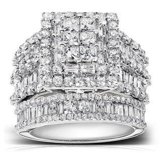 Annello 14k Gold 2 4/5ct TDW Diamond Halo Bridal Ring Set (H-I, I2-I3) with Bonus Item