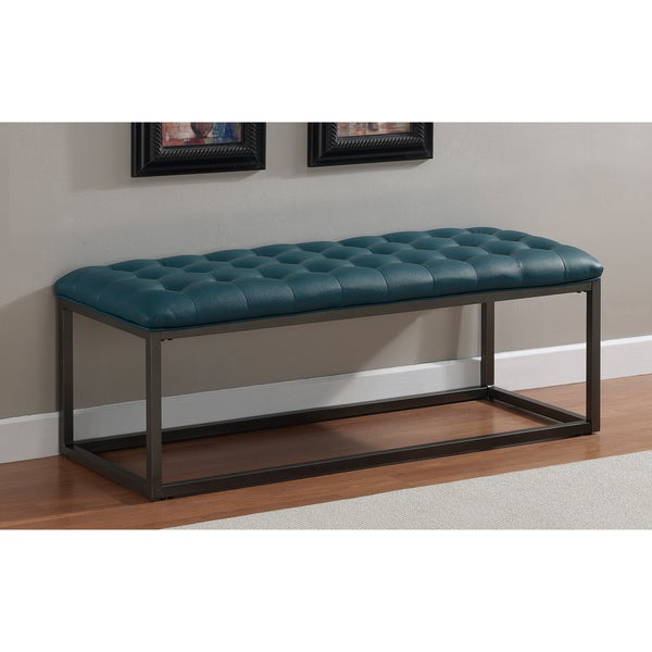 Healy Teal Leather Tufted Bench Overstock Shopping Great Deals On Benches