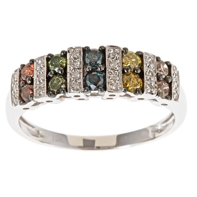 D'Yach 10k White Gold Multi-color Diamond Fashion Ring