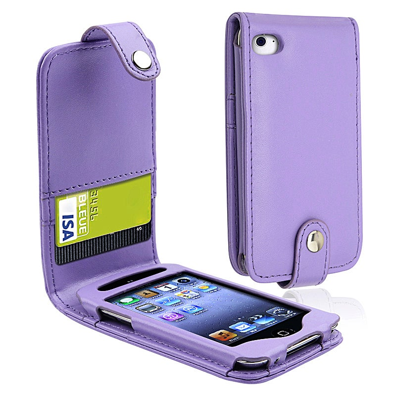 INSTEN Purple Leather iPod Case Cover with Card Holder for Apple iPod Touch Generation 4