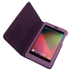 Purple Synthetic-leather Protective Case with Stand for Google Nexus 7
