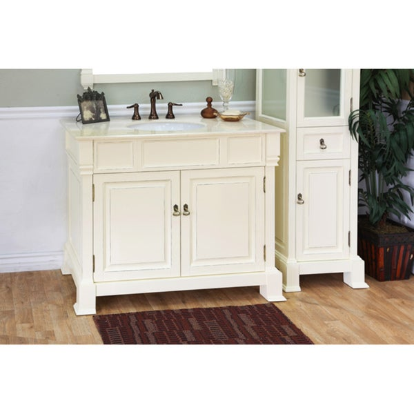 Wonderful 42 Inch Single Sink Bathroom Vanity In White With A Side Cabinet