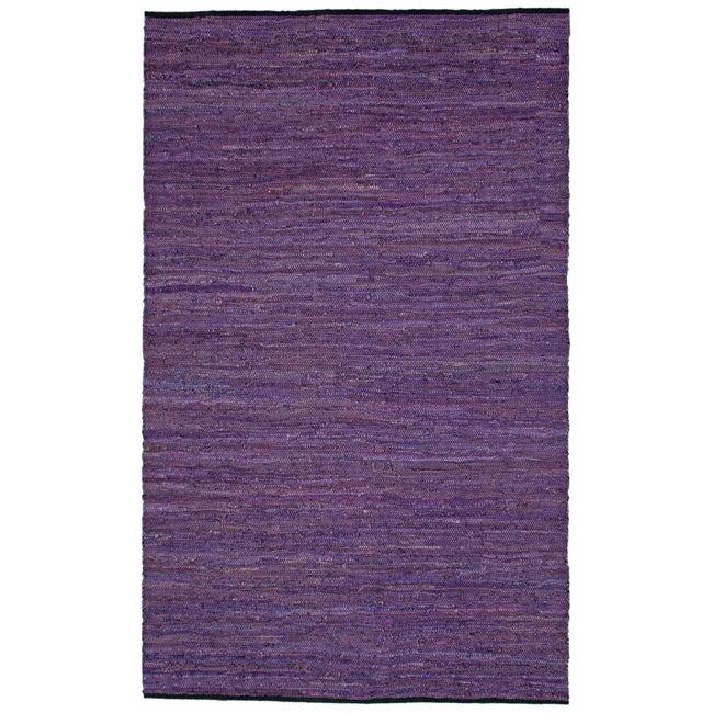 Hand-woven Matador Purple Leather and Cotton Rug (9' x 12')